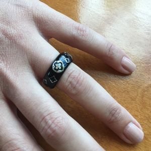 Black Enamel Ring With Crystal Detail